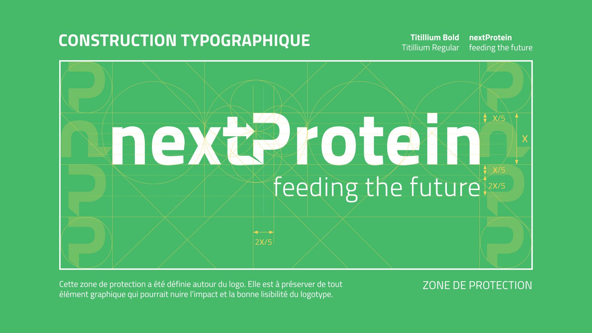 Construction typographique création logo nextProtein