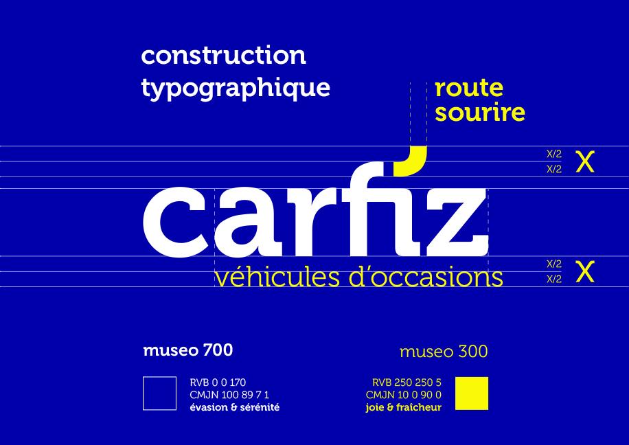 Construction typographique création logo Carfiz - Branding